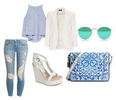 Blue Hues by slizausaba on Polyvore featuring Zara, Wallis, Frame Denim, Lola Cruz and Dolce&Gabbana