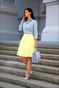 Chambray And Yellow Casual Chic Streetstyle