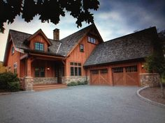 cedar and stone homes | Cedar and stone rustic home. Green trimmed windows. 2 car attached ...