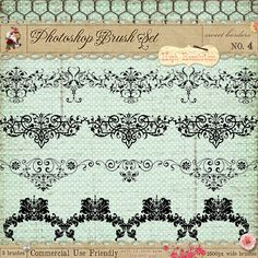 Ornate French borders brushes for photoshop - graphic design