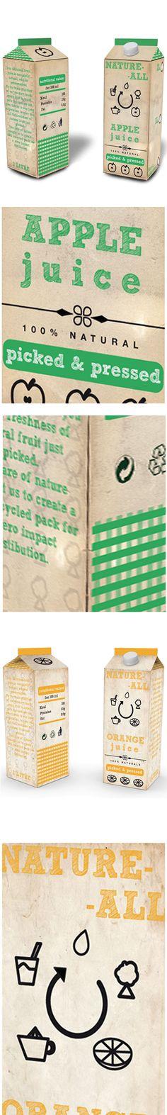 Natural apple juice packaging