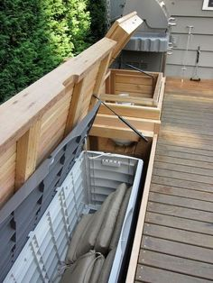 Built - in bench with storage - patio furniture and outdoor furniture - seattle ., im garten frame Built - in bench with storage - patio furniture and outdoor furniture - seattle . Built In Grill, Built In Bench, Bench With Storage, Small Storage, Storage Benches, Storage Ideas, Garden Storage Bench, Storage Design, Storage Boxes