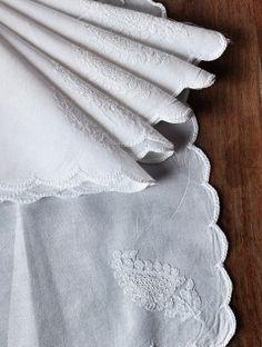 White Cotton Chikankari Embroidered Handkerchief (Set of 6) 10in x 10in