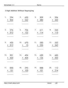 Math Worksheets: Help Your Kids Learn 3-Digit Addition With No Regrouping: Worksheet # 3