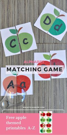 Apple themed alphabet matching cards   Activities   Games   Free printables   More @malaysian_mom
