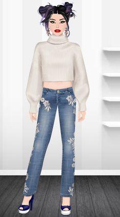 Fashion Stardoll  Jogo de Moda @rafaela.liberal Stardoll : rafaela_liberal Jeans Skinny, Ideias Fashion, Pants, Fashion Games, Latest Fashion, Toddler Girls, Celebs, Trouser Pants, Women's Pants