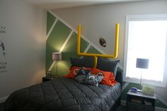 boy's bedroom with football theme