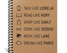 Gilmore Girls Notebook - Lorelai, Rory, Emily, Sookie, Lane, Paris - Gilmore Girls Journal - Gift for Her - Gilmore Girls Valentine