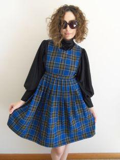 Vintage Blue Black Yellow School Girl Plaid by FunkyOldSoul