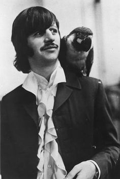 Ringo Star of the Beatles and a Macaw Parrot on his shoulder