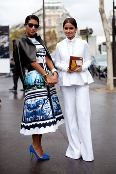 STREET STYLE SPRING 2013: PARIS FASHION WEEK - Color and lack of color come together for two polished ensembles.