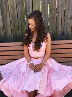 Homecoming Dresses High Low, Two Piece Homecoming Dress, Prom Dresses Two Piece, Prom Dresses For Teens, Dresses Short, Pink Prom Dresses, A Line Prom Dresses, Cheap Prom Dresses, Short Prom