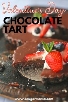 You won't believe how easy and simple it is to make this chocolate tart that's perfect for Valentine's Day. Topped with fresh whipped cream and mixed berries, this is the Easiest Chocolate Tart Recipe there is! Easy Pie Recipes, Tart Recipes, Baking Recipes, Sweets Recipes, Healthy Recipes, Dark Chocolate Recipes, Chocolate Desserts, Valentine Recipes, Funny Valentine