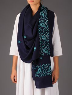 Buy Blue Paisley Wool Chikankari Stole Accessories Scarves & Stoles Chikan Charisma Elegant Embroidered Woolen Shawls Online at Jaypore.com
