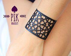 HOT PRICE!! Leather Bracelet cuff, Leather Cuff, Ladies Leather Bracelets, Black…