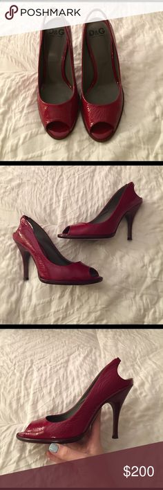 Dolce and Gabbana Red Heels Gently worn 100% authentic Dolce and Gabbana red patent heels. Wooden heel adds a gorgeous touch. Elastic band. Comes with original packaging. Dolce & Gabbana Shoes