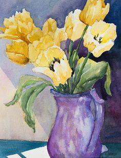 Yellow Tulips, Purple Jug by Linda Virio