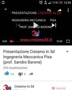 "Follow us on YouTube! Guarda la presentazione del nostro #makerspace a #ingegneria! Guarda ""presentazione Creiamo in 3d Ingegneria Meccanica Pisa (prof. Sandro Barone)"" #Pisa #ingegneria #meccanica #makers #makerspace #3dprinting #Arduino #raspberrypi #laserscanner #blender #freecad by fablab_creiamo_in_3d"