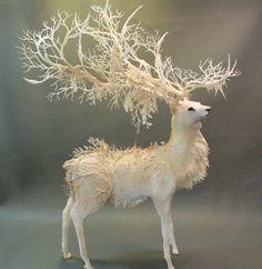 White Stag by Ellen Jewett. cold porcelain,polymer etc.