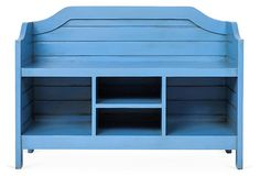 One Kings Lane - Seat Yourself - Beach House Storage Bench, Cobalt