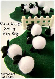 Spring Lamb Counting Busy Bag. Use pom pom lambs to create this simple busy bag suitable for toddlers and preschoolers. Can you little one count the sheep as they jump over the fence?
