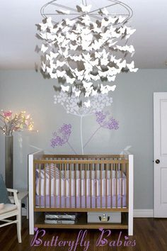 Butterfly nursery decor real rooms butterflies babies decorations baby shower lavender and gray girl Nursery Room, Girl Nursery, Girl Room, Baby Room, Nursery Decor, Babies Nursery, Nursery Ideas, Room Ideas, White Nursery