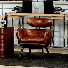 Retro Mod Arm Chair Cuba Brown Leather New Free Ship Office Den Leather Furniture, Cool Furniture, Modern Furniture, Furniture Design, Living Room Chairs, Living Room Furniture, Brown Leather Chairs, Cow Leather, Vintage Leather