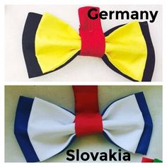 Germany VS Slovakia sports fan bow ties handmade by Betolli in country flag colors. #UEFA2016