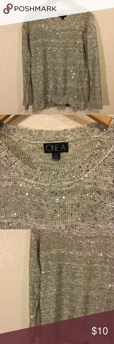 Sparkly Silver Over Sized Sweater (S/M) One A Sweaters Crew & Scoop Necks
