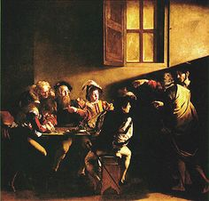 In het 2e schilderij De roeping van Mattheus, is te zien dat Mattheus, op dat moment een tollenaar in Rome, wordt geroepen door Christus (met aureool) in het belastingkantoor. Door de smalle bundel licht die vanuit de linkerbovenhoek op het decor valt is ook hier weer een clair-obscur te zien.