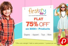 Firstcry is offering Flat 75% off on Diapers, Apparel, Toys & more over 8000+ products. Coupon Code is valid only for today [25th Feb'16]., Coupon Code is valid on Select Products. Coupon Code is applicable for 1 product per user. Coupon can be used only once and is not applicable with any other coupon. Coupon Code is applicable on MRP of Products. Firstcry Coupon Code – FEB75  http://www.paisebachaoindia.com/diapers-apparel-toys-more-flat-75-off-firstcry/