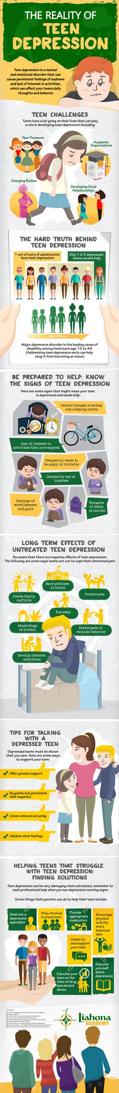 The reality of teen depression can be scary but understanding the challenges that your teen faces daily can help you to be prepared to help your teen. The following infographic from Liahona Academy will teach you the signs of teen depression as well as how to find solutions for your teen that is struggling with teen depression.