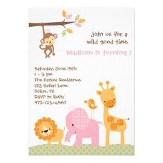 Convites doces cor-de-rosa do safari