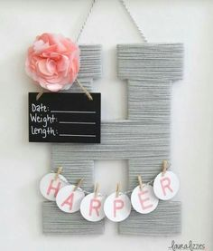 Hospital door hanging baby girl baby shower gifts baby room hospital door hanging baby girl baby shower gifts baby room decor wood yarn letter personalized birth announcement baby girl names negle Image collections