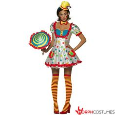 Adult Colorful Female Clown Costume (One size fits ladies size Best Halloween Costumes & Dresses USA Cute Clown Costume, Clown Costume Women, Clown Halloween Costumes, Funny Costumes, Halloween Kostüm, Adult Costumes, Costumes For Women, Women Halloween, Cartoon Costumes
