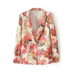 Lapels Pocketed Floral Print Blazer | pariscoming