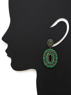 Emerald & Diamond Double Oval Drop Earrings by Amrapali at Gilt