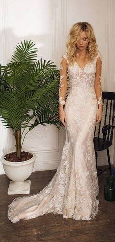 low back wedding dress with long sleeves #weddings #dresses #weddingdresses #weddingideas #weddinginspiration
