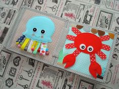 Quiet Book l Jellyfish and Crab Diy Quiet Books, Baby Quiet Book, Felt Quiet Books, Sensory Book, Baby Sensory, Quiet Book Patterns, Diy Bebe, Baby Sewing Projects, Book Activities