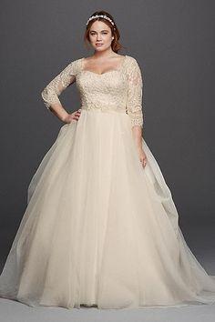 Oleg Cassini Plus Size Organza 3/4 Wedding Dress 8CWG731