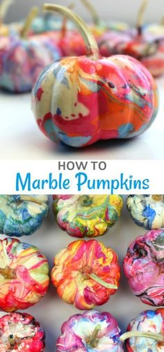 Learn how easy it is to marble a pumpkin. This no-carve pumpkin decorating idea is a great way to add color to Halloween decor. Fake Pumpkins, Painted Pumpkins, Halloween Pumpkins, Fall Halloween, Halloween Crafts, How To Paint Pumpkins, Halloween Ideas, Pretty Halloween, Halloween Birthday