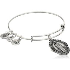 Alex and Ani Mother Mary Charm Bangle in Rafaelian Silver, A14EB21RS,... ❤ liked on Polyvore featuring jewelry, bracelets, alex and ani, silver bangles, charm bangles, bangle charm bracelet and silver charm bangle