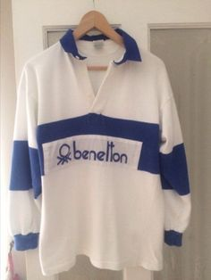 Benetton blue and white rugby shirt. Rare Original 80s Classic.Cp company S/M   £176.12 (28B)