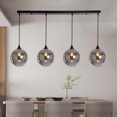 Hanglamp Vilmar 4 lichts Zwart - Hanglampen - Loods 5 Ceiling Pendant, Pendant Lighting, Ceiling Lights, Luxe Decor, Dining Lighting, Home Decor Kitchen, Hanging Lights, Furniture Decor, Lightbulb