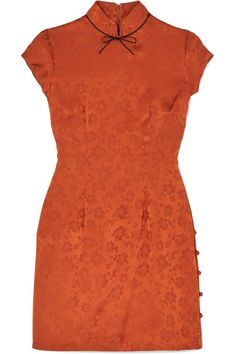 Rust and black satin-jacquard Concealed zip fastening along back acetate, silk; Perrie Edwards Style, Collar Top, Satin Bows, Alexa Chung, Mandarin Collar, Black Satin, High Neck Dress, Silk, Model