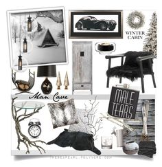 """Man Cave: Winter Cabin"" by theseapearl ❤ liked on Polyvore featuring interior, interiors, interior design, home, home decor, interior decorating, Asprey, Yerra, Shea's Wildflower and Arteriors"