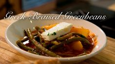 Greek Braised Greenbeans with Potatos/ Fasolakia Veg Recipes, Greek Recipes, Vegetarian Recipes, Cooking Recipes, Greek Side Dishes, Main Dishes, Braised Greens, Greek Cooking, Cooking Tools
