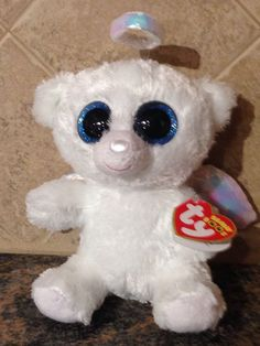 TY BEANIE BOO - HALO - White Angel Bear - New With Tags |~| #Ty