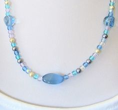 Mixed Blue Glass Beads With Glass Pearls Necklace Shorter