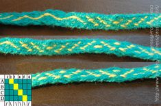 A tablet woven sample showing pattern variations of the same threading scheme.